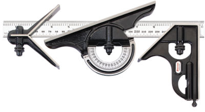 Hardened Square 300 mm Size Starrett 434ME-300 Forged Smooth Black Enamel Finish Centre And Reversible Protractor Heads With Blade Combination Set