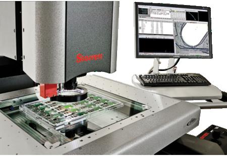 AV300+ Galileo CNC Video Inspection System close-up measuring circut boards