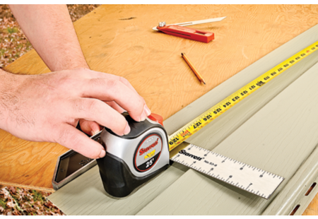 TXP106-25 Exact Plus Tape with 53-8 Tri Square; measuring vinyl siding